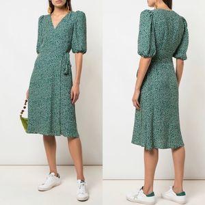 New Reformation Christa Puff Sleeve Wrap Dress XL